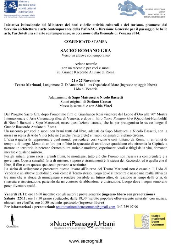 SACRO ROMANO GRA Biennale Architettura - Comunicato Stampa